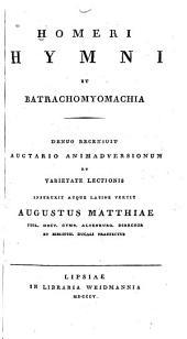 Homeri Hymni et Batrachomyomachia