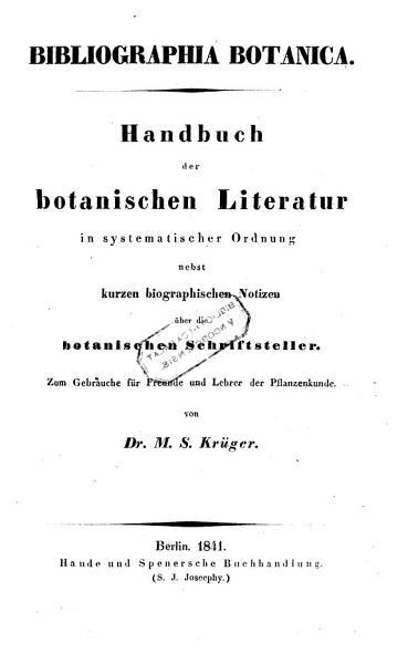 Bibliographia botanica  Handbuch der botanischen Literatur PDF