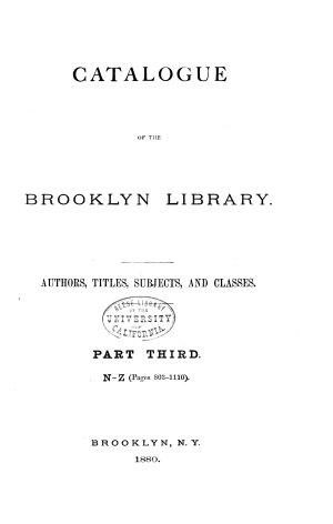 Catalogue of the Mercantile Library of Brooklyn
