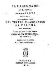 Il falegname di Livonia. Dramma buffo in 2 atti. Musica di G. Donizetti