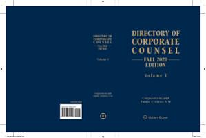 Directory of Corporate Counsel  Fall 2020 Edition  2 vols  PDF