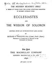 Ecclesiastes and the Wisdom of Solomon: Volume 12