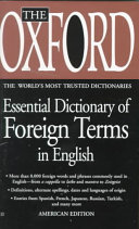 The Oxford Essential Dictionary of Foreign Terms in English PDF