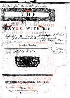 THE BOOKE OF COMMON PRAYER  WITH THE PSALTER OR PSALMES OF DAVID PDF