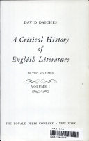 A Critical History of English Literature in Two Volumes: Volume I