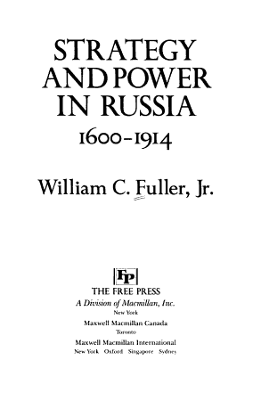 Strategy and Power in Russia  1600 1914 PDF