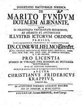 Dissertatio Inavgvralis Ivridica De Marito Fvndvm Dotalem Alienante