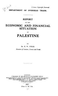 Economic Conditions in Palestine