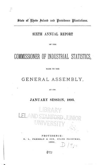 Report of the Commissioner of Labor Made to the General Assembly     PDF