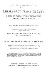Library of St. Francis de Sales: Letters to persons in religion