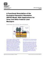 A Functional Description of the Ecological Dynamics Simulation  EDYS  Model  With Applications for Army and Other Federal Land Managers PDF