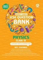 ICSE Most Likely Question Bank Physics Class 9  2022 Exam    Categorywise   Chapterwise Topics  Indepth Concepts  Quick Revision PDF