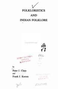 Folkloristics and Indian Folklore PDF