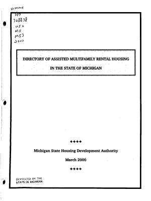 Directory of Assisted Multifamily Rental Housing in the State of Michigan PDF