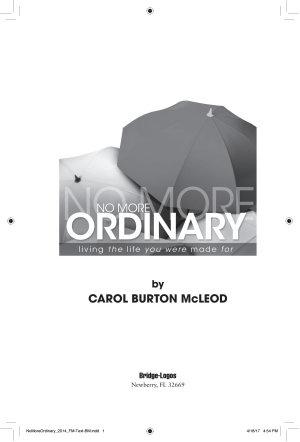 No More Ordinary PDF