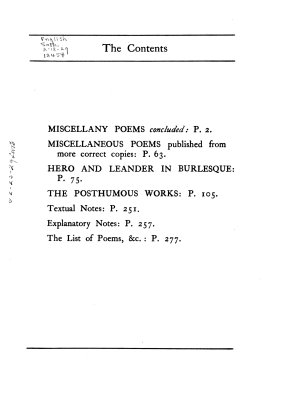 Miscellany poems concluded  Miscellaneous poems published from more correct copies  Hero and Leander in burlesque  The posthumous works PDF