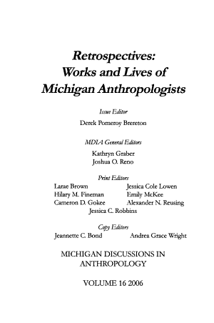 Michigan Discussions in Anthropology PDF