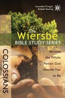 The Wiersbe Bible Study Series  Colossians PDF