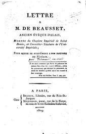 Lettre à Monsieur de Beausset pour servir de supplément à son histoire de Fénélon