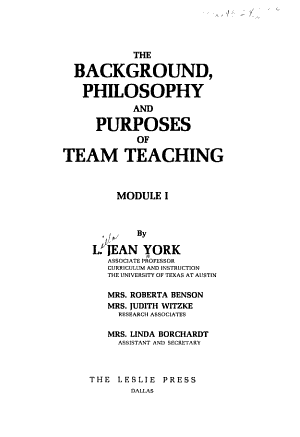 The Background  Philosophy  and Purposes of Team Teaching PDF