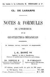 Notes et formules d'électricité industrielle ...