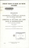 Oversight Hearing on Reading and Writing Achievement PDF