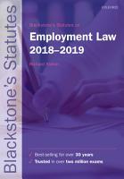 Blackstone s Statutes on Employment Law 2018 2019 PDF
