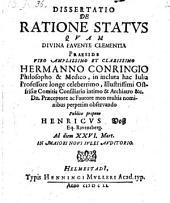 Disseretatio de ratione status ... proponente Henrico Voss