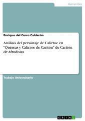"""Análisis del personaje de Calírroe en """"Quéreas y Calírroe de Caritón"""" de Caritón de Afrodisias"""