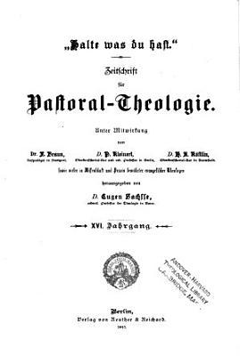 Zeitschrift f  r Pastoral Theologie PDF