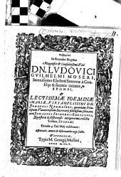 Euphēmiai In secundas Nuptias ... D. Ludovici Guilhelmi Moseri, Serenissimo Electori Saxoniae a Consiliis & secretis intimis ... & ... Mariae ...: Affinitatis, amoris & ovservantiae ergo factae