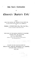 John Lane s Continuation of Chaucer s  Squire s Tale   PDF
