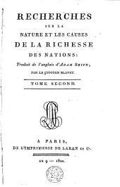 Recherches sur la nature et les causes de la richesse des nations: Volume2