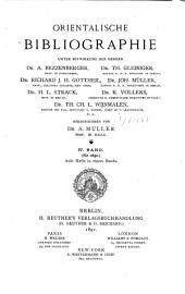 Orientalische Bibliographie: Band 4