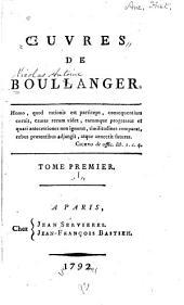 Œuvres de Boulanger: Volume1