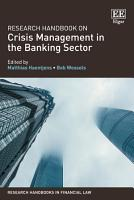 Research Handbook on Crisis Management in the Banking Sector PDF