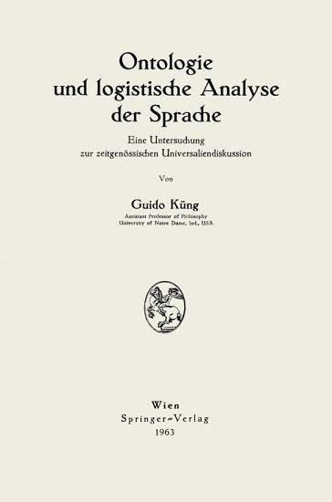 Ontologie und logistische Analyse der Sprache PDF