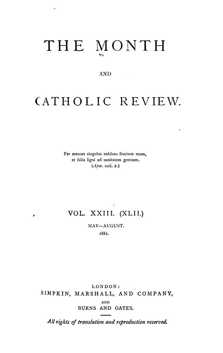 The Month and Catholic Review