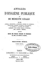 Annales d'hygiène publique et de médecine légale: Volume39