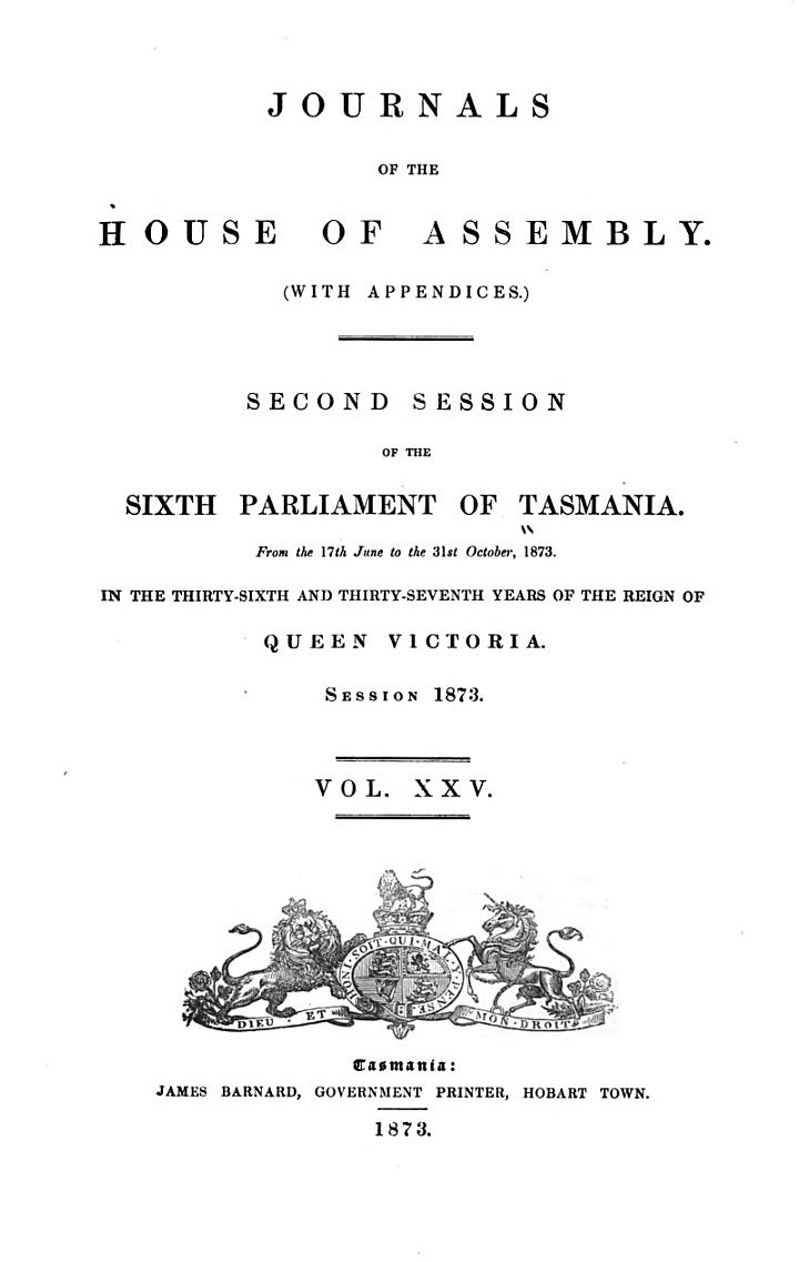 Journals of the House of Assembly (with Appendices)