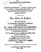 Dissertatio ... de stipulationibus (etc.) Resp.: Christiano Perner