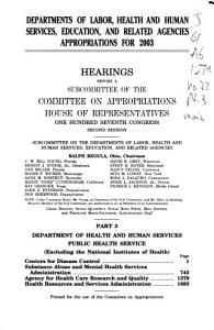 Departments of Labor  Health and Human Services  Education  and Related Agencies Appropriations for 2003  Department of Health and Human Services  Public Health Service PDF
