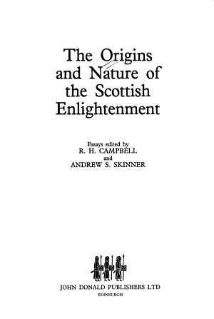 The Origins and Nature of the Scottish Enlightenment