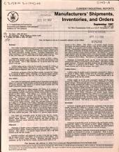 Current Industrial Reports: Manufacturers' shipments, inventories, and orders, Issue 1