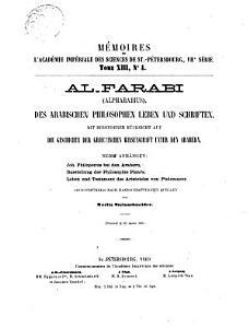 Al Farabi  Alpharabius  des arabischen Philosophen Leben und Schriften PDF