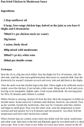 Chicken Recipes - Pan-fried Chicken in Mushroom Sauce Recipe