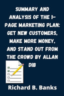 Summary and Analysis of the 1 Page Marketing Plan PDF