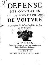 Défense des ouvrages de M. de Voiture à M. de Balzac