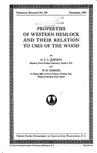 Properties of Western Hemlock and Their Relation to Uses of the Wood PDF