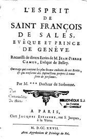 L'esprit de St François de Sales, évêque et prince de Genève